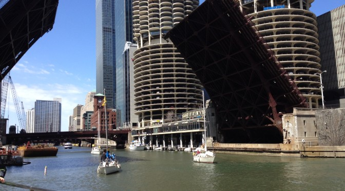 State Street Bridge raised to allow boats to enter Lake Michigan